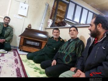 دیدار سردار استادحسینی به همراه مسئولین بنیاد شهید به همسر شهید بسیجی بهرام یار محمدی